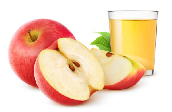 Apple juice and fresh apples isolated on white