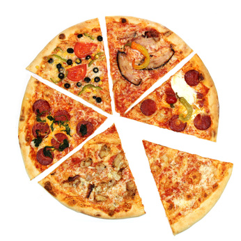 pizza slices on white background