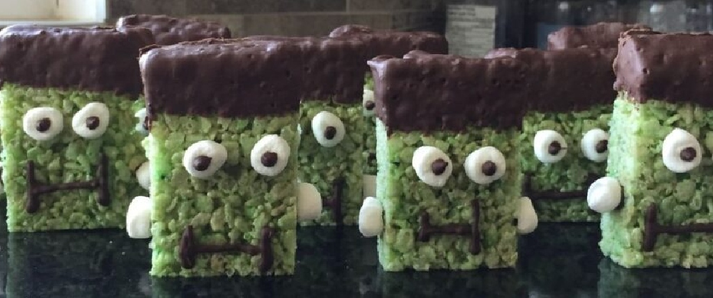 Mint Chocolate Krispie Frankenstein Bars